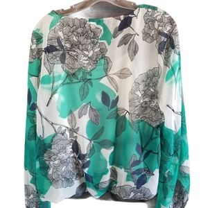 ALFANI Green floral Printed Angel Sleeve Blouse To